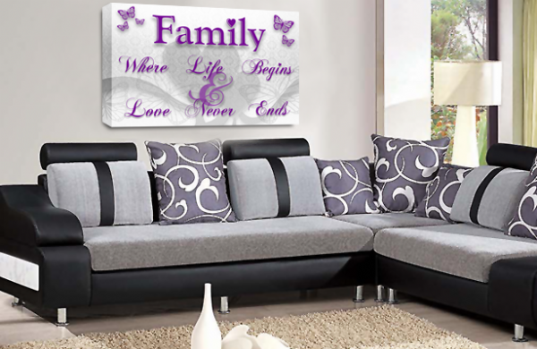 Family Quote Wall Art Picture White Purple Grey Love Print
